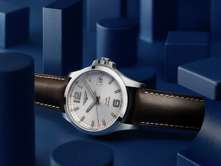 Conquest V.H.P. Longines met lederen band