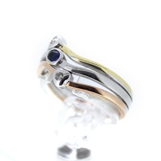 Juweel Ring Tricolor 18 karaat Briljant Saffier '0013-CV-TWDH'