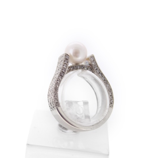Juweel Ring Wit goud 18 karaat Cultuur parel Briljant '6049-CV-TWDH'